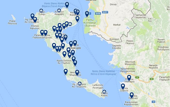 hoteles y zonas Corfú